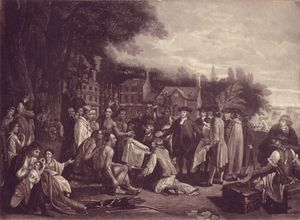 [William Penn's Treaty with the Indians, when he founded the Province of Pensylvania in North America.] by Henry Dawe after Benjamin West