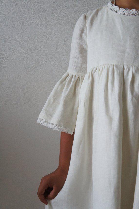 Verwonderend Linnen meisjesjurk Linnen jurk Linnen jurk voor meisjes Bloem WT-79