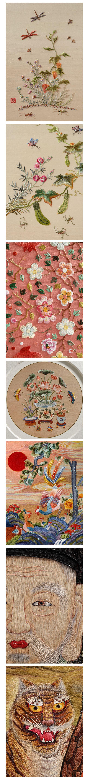 한국의 전통적인 '가색자수'기법은 수의 밑그림을 채색까지 모두 마친 후 시작하는 독특한 기법으로, 수를 놓으면 밑그림이 수실 사이로  새어 올라와 색과 선이 분명해지고 명암까지 표현되어 붓으로 그린 듯 생생하고 특별한 느낌을 줍니다.