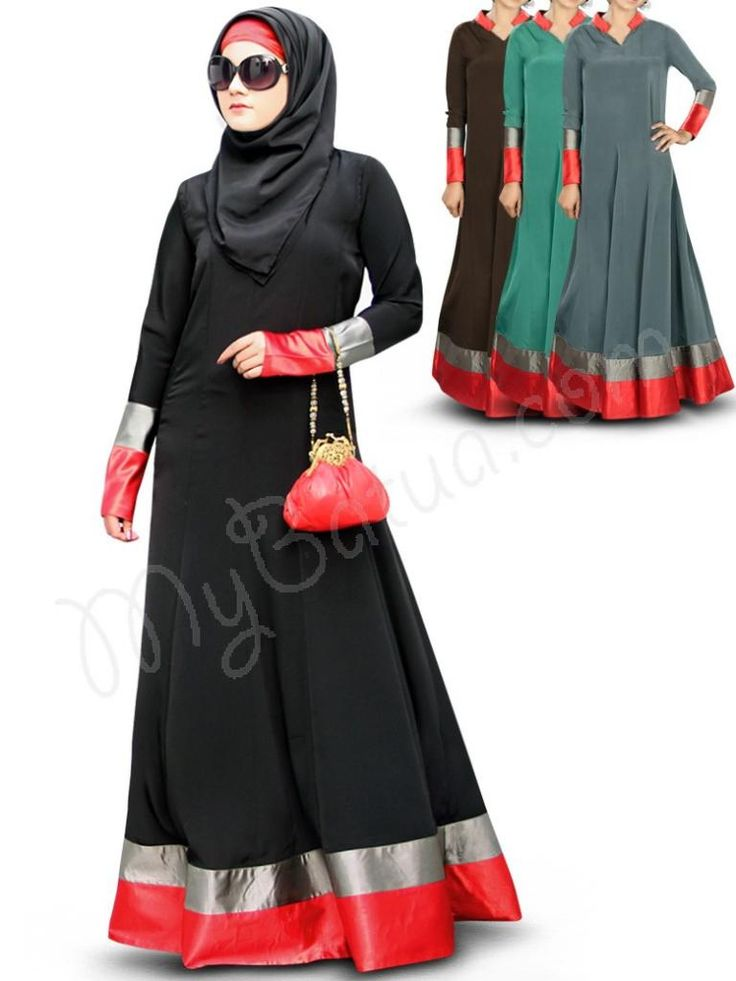 Pretty Panel Umbrella Black Party Wear #Abaya|#MyBatua.com  Aroob Abaya!  Style No : AY-335  Available Sizes XS to 7XL   •	Band collar with v cut •	Panel umbrella cut design •	Red & grey satin strips at bottom •	Body fit sleeves with matching satin borders •	Matching Square Hijab (100x100 cm approx.) and Band can be bought separately. •	Bag not included •	Colour: In 4 different color options •	Fabric: Poly Crepe and Satin •	Care: Dry clean