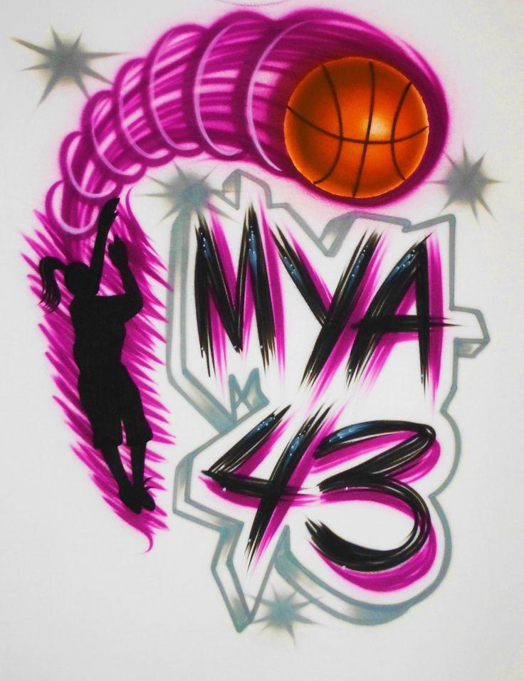 Airbrush T Shirt Basketball Player Name Number, Airbrush Basketball Shirt, Basketball Shirt, Basketball Player Shirt, Airbrush Shirt by BizzeeAirbrush on Etsy https://www.etsy.com/listing/83177818/airbrush-t-shirt-basketball-player-name