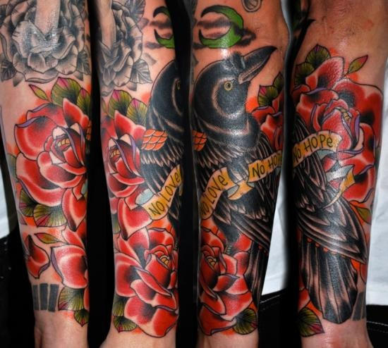 Leviticus tattoo kyle malone crow with roses for Leviticus on tattoos
