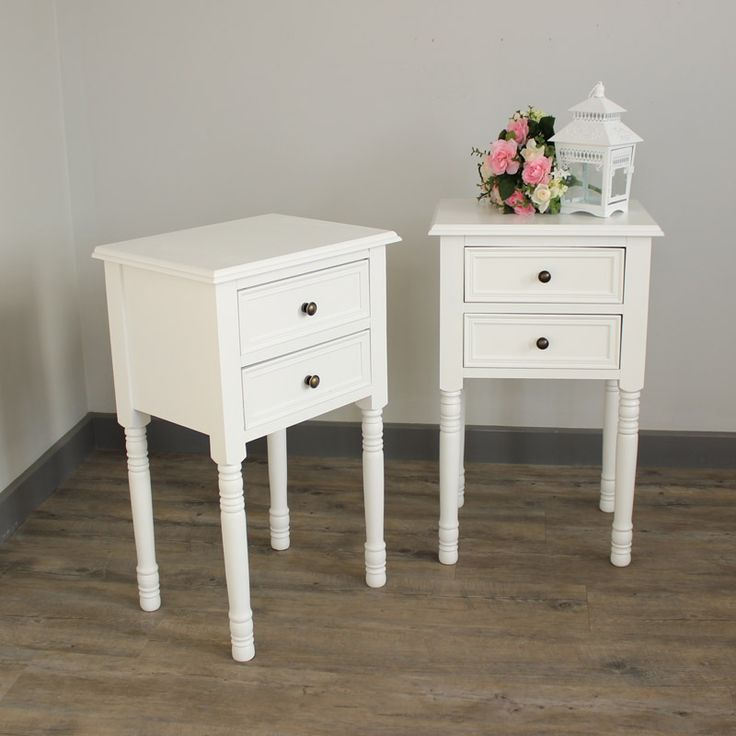 Eliza White Range   Furniture Bundle, Pair Of Two Drawer Bedside Table Made  From Wood
