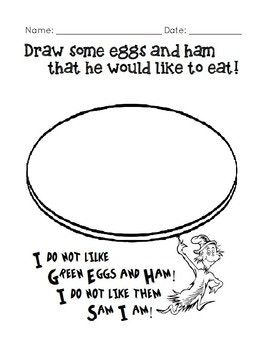 A Fun Worksheet To Go Along With The Story By Dr Seuss Green Eggs