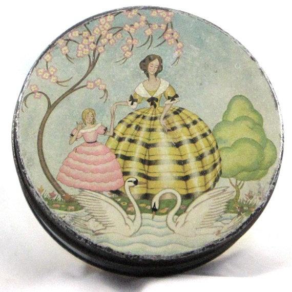 Victorian Round Tin Box by LoDoVintage on Etsy, $12.00