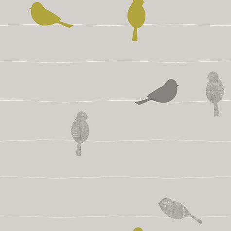Buy John Lewis Bird on a Wire Wallpaper, Smoke Online at johnlewis.com