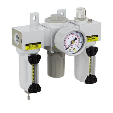 PneumaticPlus SAU2000M-N02G-MEP 3-Unit Combo Compressed Air Filter Regulator Lubricator, FRL Air Preparation Unit 1/4 inch NPT, Particulate Air Filter (10 Micron), Metal Bowl, Manual Drain, Gauge