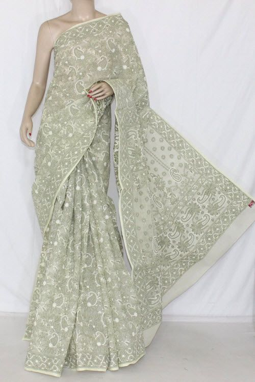 Cream Color Allover Hand Embroidered Lucknowi Chikankari Saree  (With Blouse - Cotton) 14323