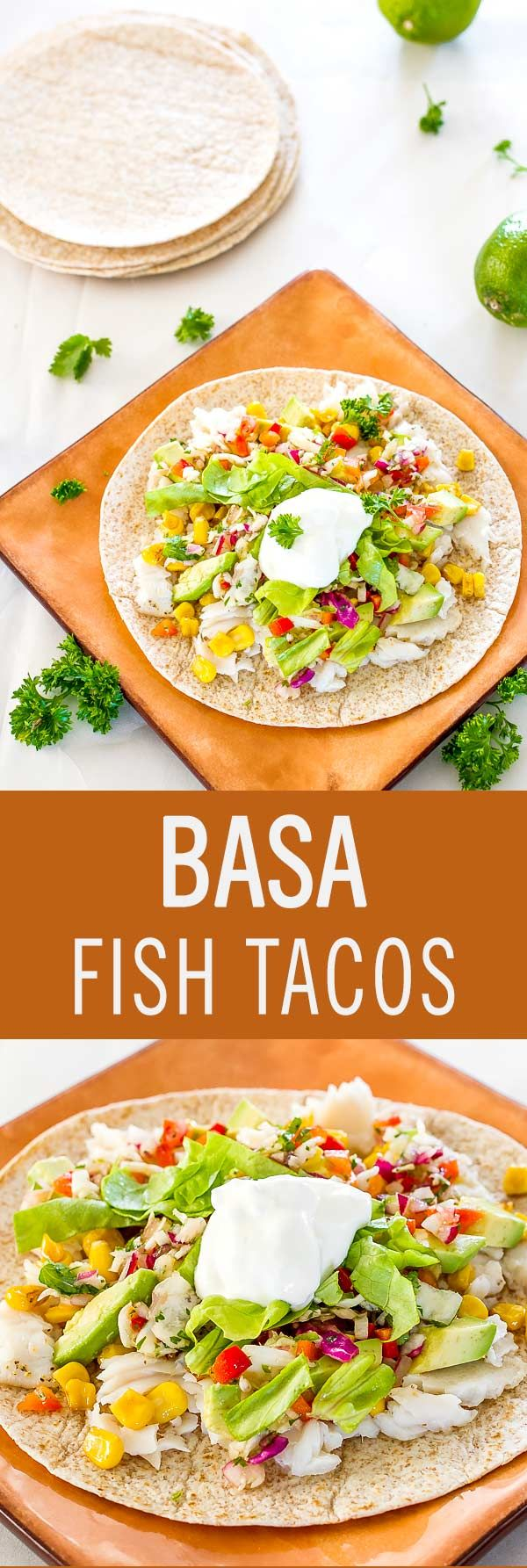 These refreshing basa fish tacos make for a quick and healthy lunch, featuring a delicious combination of seafood, avocado and chunky salsa.