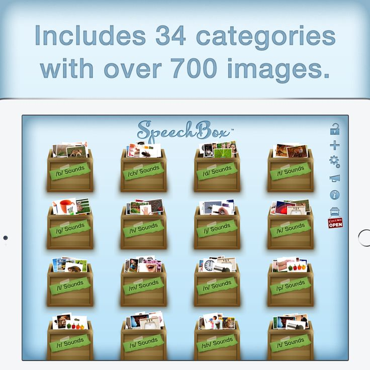 SpeechBox for Articulation Speech Therapy is a powerful app that includes 34 categories with over 700 images. Learn more at http://get.speechboxapp.com