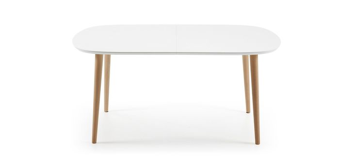 Table Oqui Extensible ovale 160-260 cm, naturel et blanc-494 €