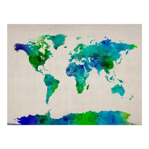 Wereldkaart: mooie kleuren, lekker groot, met landsgrenzen en ook Antarctica ontbreekt niet.