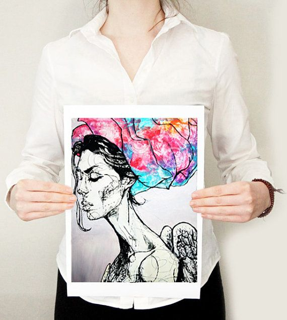 This psychedelic angel was created using only dripped paint! COLOR QUEEN : Art Print by @SharonMoranArt.  Buy here: https://www.etsy.com/ie/listing/224793269/color-queen-limited-edition-art-print-8?