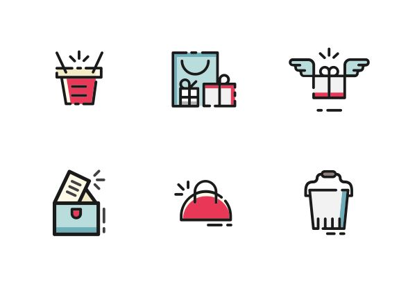 """Bags and packages"" set. This set contains 10 vector color filled line icon design into the ""package, gifts and bags"" category. #LineIcons #VectorIcons #packageIcon"