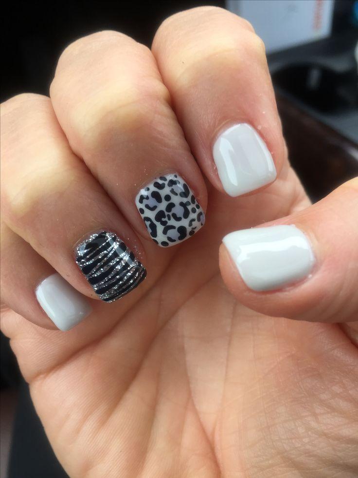 Light gray cheetah zebra animal nail design shellac gel polish mani