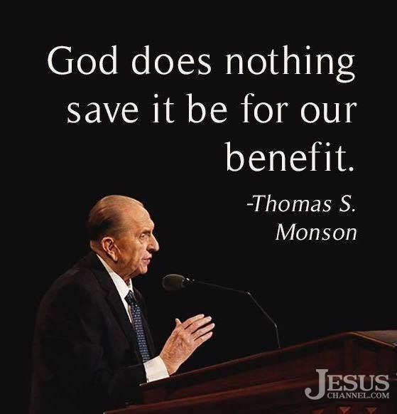 """[God] does nothing save it be for our benefit. He has told us, 'This is my work and my glory—to bring to pass the immortality and eternal life of man.'"" From #PresMonson's pinterest.com/pin/24066179228814793 inspiring #LDSconf facebook.com/223271487682878 message lds.org/general-conference/2016/10/the-perfect-path-to-happiness #ShareGoodness"