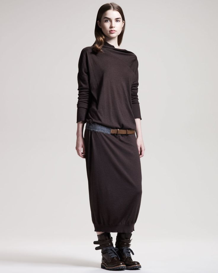 BRUNELLO CUCINELLI - Black Long Cashmeresilk Sweaterdress
