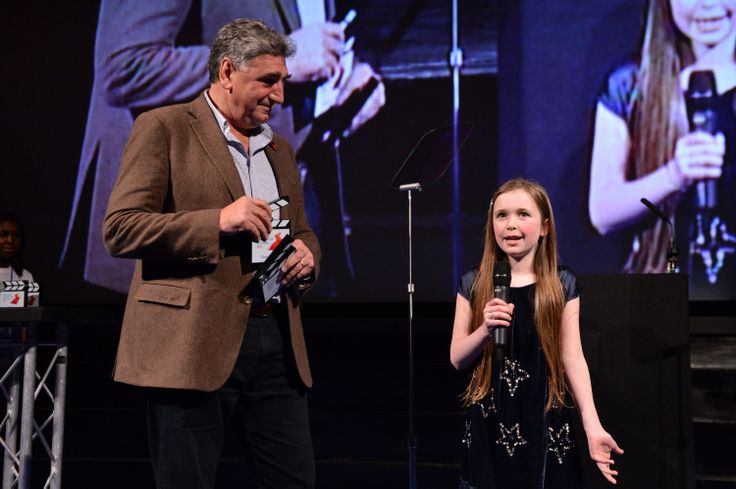 """Jim Carter aka Carson presenting Holly Jacobson with an award for her film """"Moving On"""". Holly was a winner of the NYFF 'Ones To Watch' category and nominated in All Shorts aged 5-10. You can see her short here:  http://www.youtube.com/watch?v=Sdki2V-9PXc"""