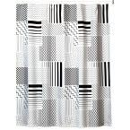 Modern Angles 72 in. x 72 in. Black/White/Grey Polyester Shower Curtain, White/Black/Grey