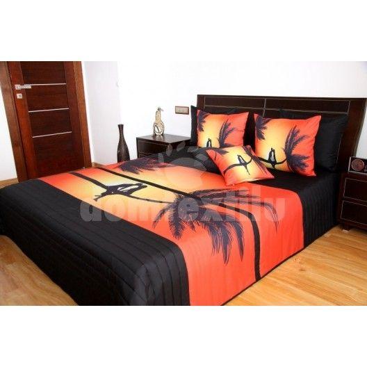 Oranžovo čierny prehoz na posteľ s 3D romantickým motívom