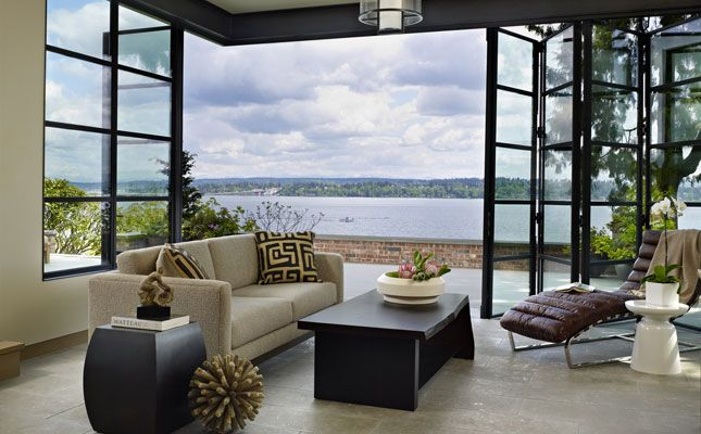bifold doors that stack back- porch to living room concept for O.H. bookhouse-7-slider DeForest Architects