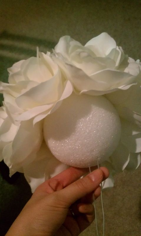 DIY Silk Rose Pomander Centerpiece :  wedding centerpiece kissing ball pomander IMAG0380
