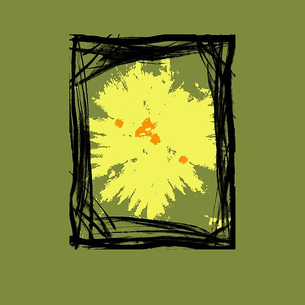 B5 - This is a abstract painting with frames and shapes in black with a yellow accent on a lime green tone background. Ideal for interior decorating in any size or position in a home or office.