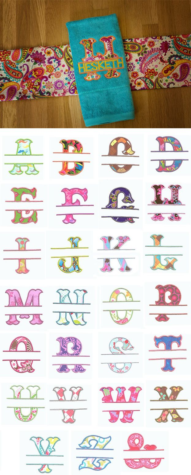 Split Wanda Applique Alphabet available for instant download at www.designsbyjuju.com