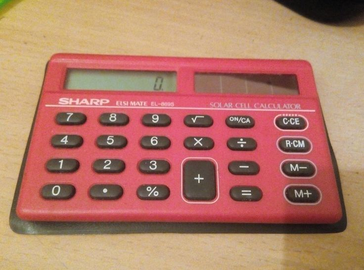 Sharp EL 869 S Vintage Electronic Pocket Calculator Solar RED RARE VGC Working