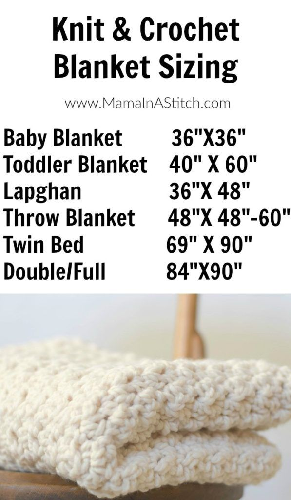 Blanket Sizing - every 2 inches equals about 3 stitches with chunky yarn