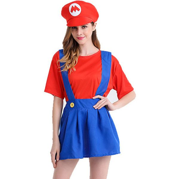 Red Plumbers Super Mario Fancy Dress Cosplay Costume ($21) ❤ liked on Polyvore featuring costumes, red, mario costume, red halloween costumes, blue halloween costumes, cosplay costumes and blue costumes