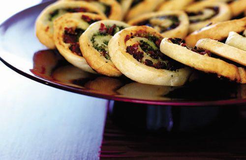 Pesto, mascarpone & tomato pastry wheels: http://www.channel4.com/4food/recipes/vegetarian/pesto-mascarpone-and-tomato-pastry-wheels-recipe