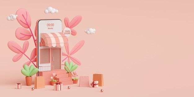 Shopping Online And Delivery Service On Mobile Application Shop Illustration Online Shop Design Cute Pastel Wallpaper