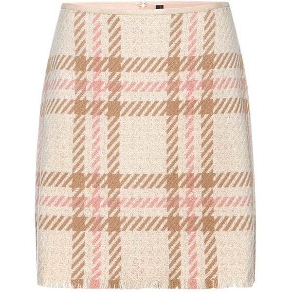 Marc Cain Check A-Line Skirt, Sahara ($110) ❤ liked on Polyvore featuring skirts, bottoms, a line patterned skirt, plaid skirt, print skirt, a-line skirt and patterned skirts