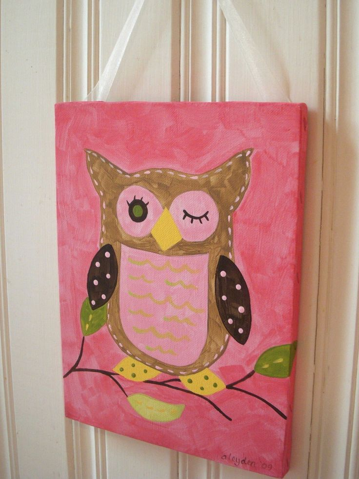 Girl kids room decor baby nursery wall art original canvas painting hand painted artwork - Girl owl decor ...