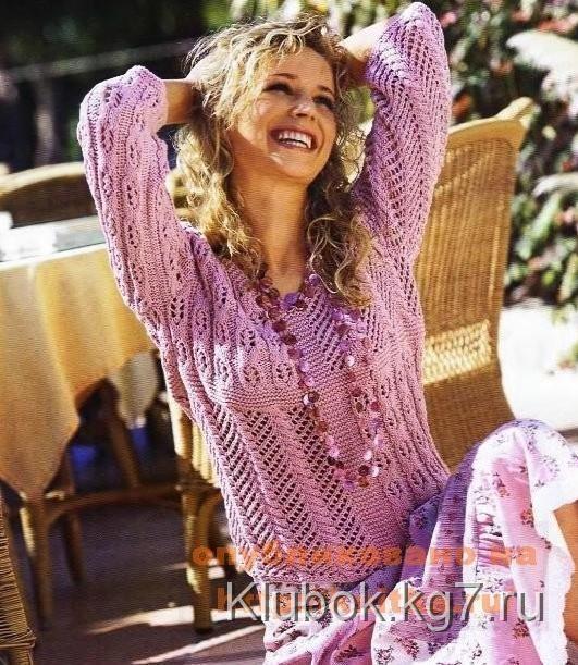 Розовый ажурный пуловер   Клубок