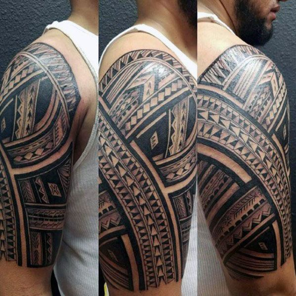 50 Polynesian Half Sleeve Tattoo Designs For Men Tribal Ideas Half Sleeve Tattoos Designs Tattoo Designs Men Sleeve Tattoos