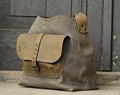 leather messenger backpack office bag Ladybuq gray door ladybuq