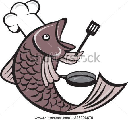 Illustration of a fish chef cook holding spatula and frying pan viewed from the side set inside on isolated white background done in cartoon style.  - stock vector #fishchef #cartoon #illustration