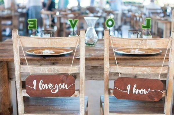 Wedding Chair Signs - I Love You I Know Star Wars Themed Rustic Chair Signs