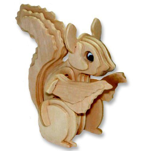 LeadingStar 3d Wooden Puzzle DIY Wood Craft Construction Toys Squirrel Model Brain Teaser and Early Development Toys zk25 #Affiliate