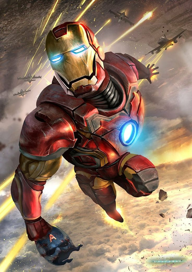 Iron Man escaping fighter jets with Captain America's mask