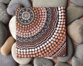 "Aboriginal Dot Art Painting, Earth Design, by Biripi Artist Raechel Saunders, 4"" x 4"" canvas board, Acrylic Paint, brown decor, ombre art"