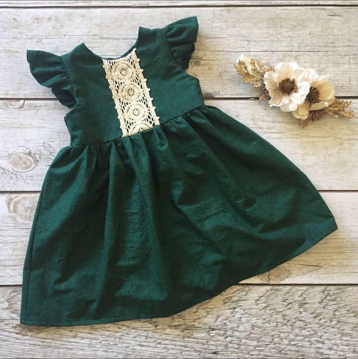 Baby Girls Handmade Cotton & Lace Winter Christmas Dress | ThePathLessRaveled on Etsy