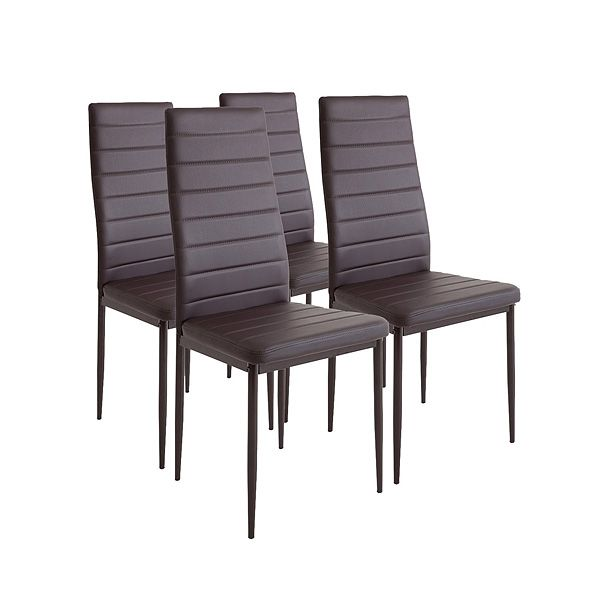 4 sillas de comedor en color marrón oscuro y de piel sintética.