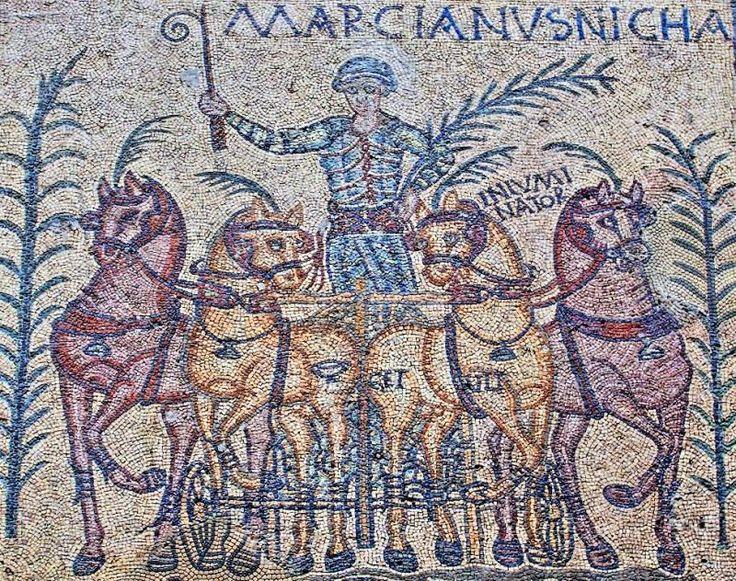 Mosaico de los Aurigas, Marcianus Nicha - Técnica del Opus Tessellatum, S. IV d.C.