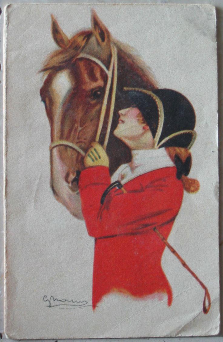1918 Figura con cavallo opera pittore Gnam  150-4 Proprietà artistica riservata - Uff. Rev. Stampa -Milano 23-3-17 n°53 cartolina senza francobollo