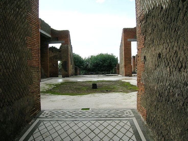 Casa dei Mosaici Geometrici. Pompeii. Riapre il 16 novembre, 2016. È composta da oltre sessanta stanze, frutto dell'unione di due abitazioni, risalenti entrambe al III-II secolo a.C. e poi rimodernata dopo il terremoto di Pompei del 62. Possiede un ampio atrio con impluvium ed un tablino da cui si accede al peristilio e al portico. Singolare è la pavimentazione in cocciopesto o a mosaico a motivi geometrici in bianco e nero.