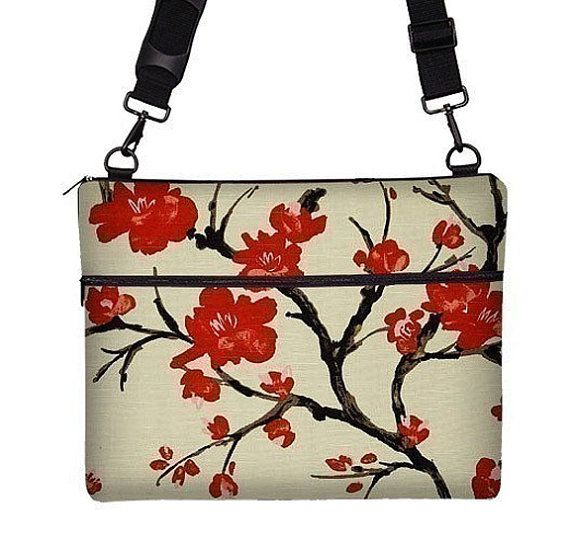 "Cute 17"" Laptop Sleeve 17 inch Laptop Bag Cherry Blossom Laptop Bag Messenger Laptop Bag 17.1, 17.3 PC strap pocket zipper red on Etsy, £52.93"