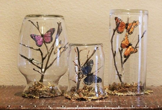 DIY Mason Jar Butterfly Terrarium Is Easy Upcycle We are big Butterfly fans around here and what could be cuter than these adorable Butterfly Terrariums. The great news for you is they couldn't be easier to make and they are an all ages project the whole family will love!     These Butterfly Glass Jars and Vasesare pretty as a picture and they're so easy to make yourself plus very inexpensive! All you need is a few Glass Jars, some twigs, a Glue Gun and Artificial or Craft Butterflies. You…